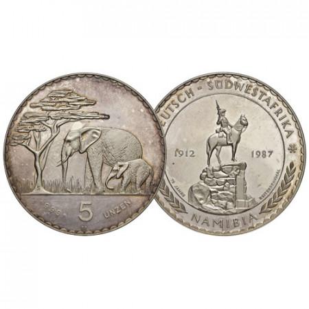 "1987 * 5 Unzen (5 OZ) Argent Namibie ""Administration Allemande - 75e Reiterdenkmal"" (X MB1) BE"