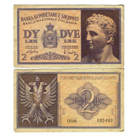 "ND (1940) * Billet Albanie 2 Lek ""Occupation Italienne"" (p9) TTB+"