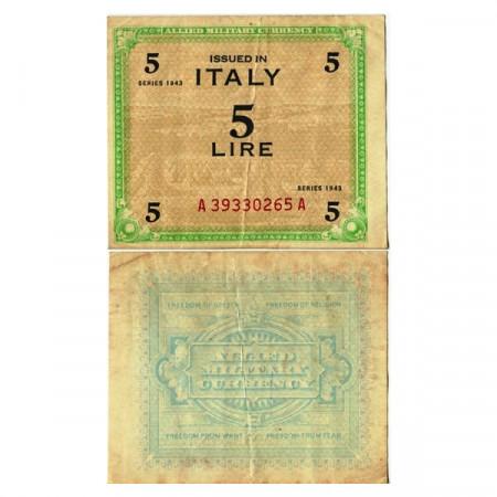 """1943 * Billet Italie 5 AM Lire """"Occupation Américaine"""" (A 1108 pM12a) TTB"""