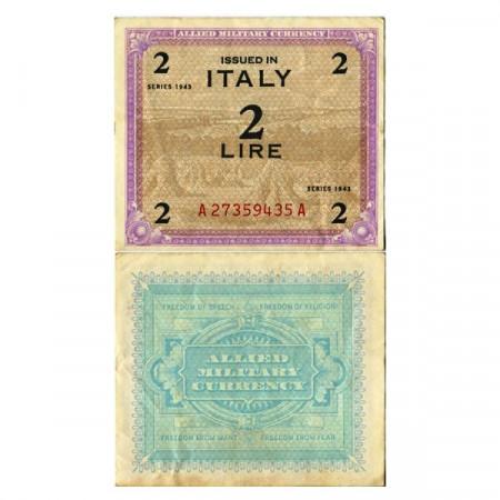 """1943 * Billet Italie 2 AM Lire """"Occupation Américaine"""" (A 1104 pM11b) SUP"""