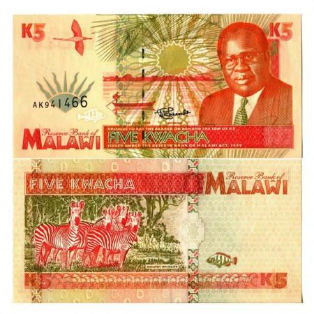 "1995 * Billet Malawi 5 Kwacha ""President Bakili Muluzi"" (p30) NEUF"