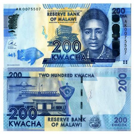 """2013 * Billet Malawi 200 Kwacha """"Rose L Chibambo"""" (p60) NEUF"""