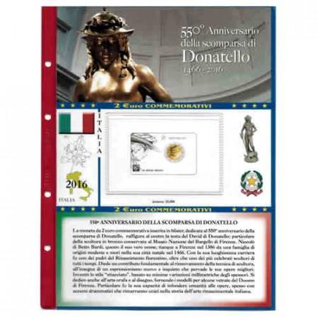"""2016 Feuille + Pochette 2 Euro ITALIE """"550e Donatello"""" * ABAFIL"""