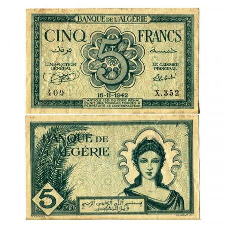"""1942 * Billet Algérie 5 Francs """"Occupation Alliée"""" (p91) TTB+"""