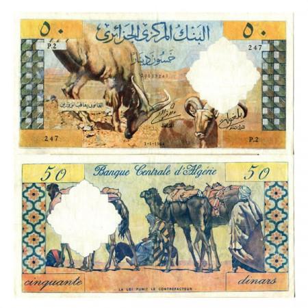 """1964 * Billet Algérie 50 Francs """"Goats - Caravan"""" (p124a) TTB"""