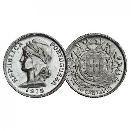 """1915 * 10 Centavos Argent Portugal """"Liberty"""" (KM 563) FDC"""