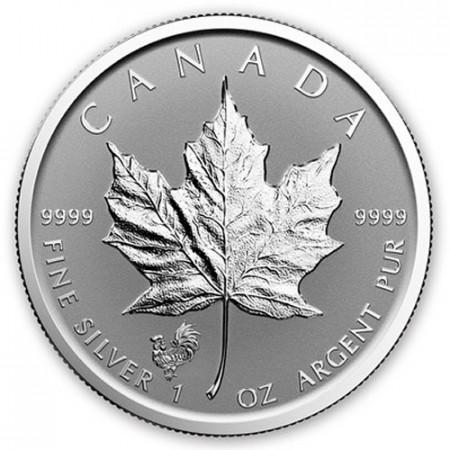 "2017 * 5 Dollars Argent 1 OZ Feuille Erable Canada ""An du Coq"" Privy Mark BU"