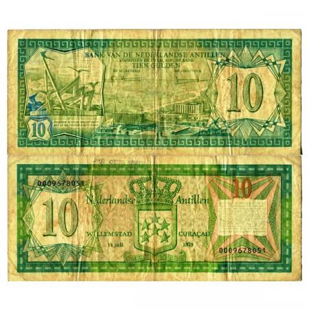 "1979 * Billet Antilles Néerlandaises 10 Gulden ""Oranjestad Aruba"" (p16a) TB"