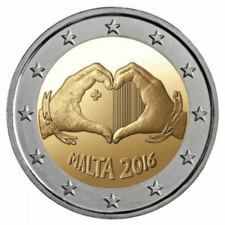 """2016 * 2 Euro MALTE """"Solidarité par l'Amour"""" UNC"""