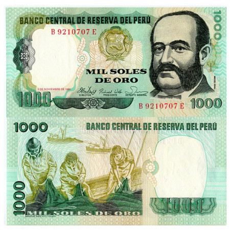 "1981 * Billet Pérou 1000 Soles de Oro ""Miguel Grau - ABNC"" (p122) NEUF"