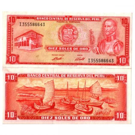 """1973 * Billet Pérou 10 Soles de Oro """"Garcilaso Inca de la Vega"""" (p100c) prNEUF"""