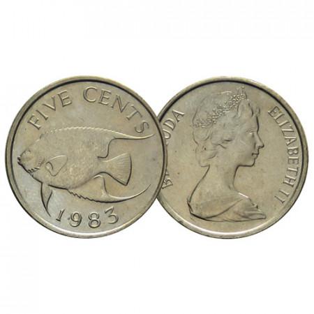 """1970-85 * 5 Cents Bermudes """"Blue Angelfish - 2nd Portrait"""" (KM 16) TB/TTB"""