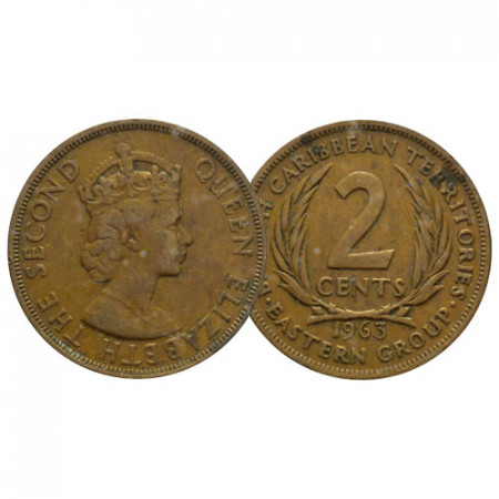 """1963 * 2 Cents États de la Caraïbe Orientale - East Caribbean States """"Élisabeth II - 1st Portrait"""" (KM 3) TB"""