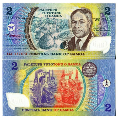 "ND (1990) * Billet Polymère Samoa 2 Tala ""Golden Jubilee"" (p31e) NEUF"