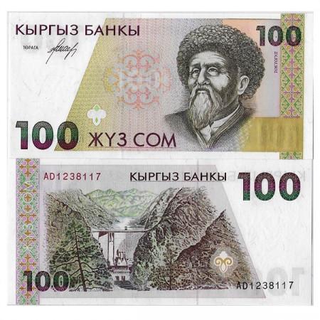 """ND (1994) * Billet Kirghizistan 100 Som """"T Satylganov"""" (p12) NEUF"""