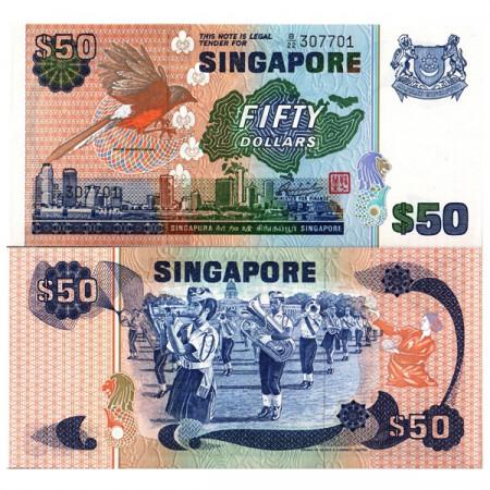 "ND (1976) * Billet Singapour 50 Dollars ""White-Rumped Shama"" (p13b) NEUF"