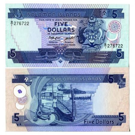 "ND (1986) * Billet Îles Salomon 5 Dollars ""Longboat"" (p14a) NEUF"