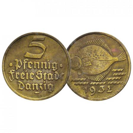 """1932 * 5 Pfennig Ville Libre de Dantzig (Allemagne) """"Codfish"""" (KM 151) TTB+"""