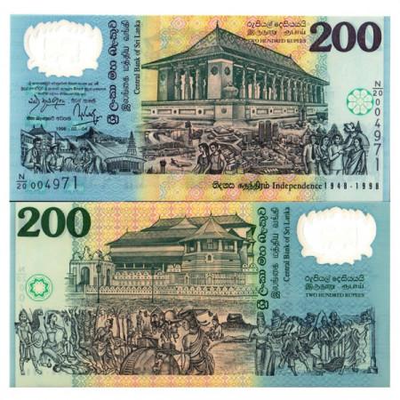 "1998 * Billet Polymère Sri Lanka 200 Rupees ""50th of Independence"" (p114b) NEUF"