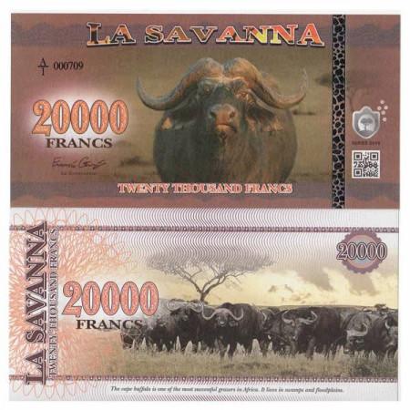 "2016 * Billet Polymère La Savanna 20.000 Francs ""African Buffalo"" NEUF"