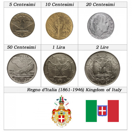"1936-43 * Série 6 Monnaies Italie Royaume ""Victor-Emmanuel III - Impero"" TTB-SUP"