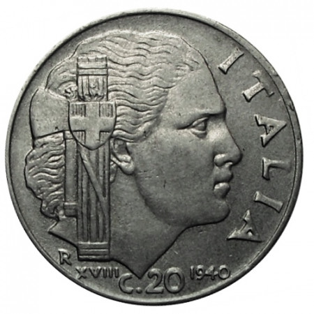 "1940 XVIII * 20 Centesimi Italie Royaume ""Victor-Emmanuel III - Impero"" Antimagnétique (KM 75d) moy.TTB"