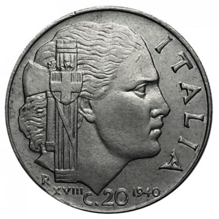 "1940 XVIII * 20 Centesimi Italie Royaume ""Victor-Emmanuel III - Impero"" Antimagnétique (KM 75b) moy.TTB"