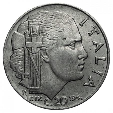 "1941 XIX * 20 Centesimi Italie Royaume ""Victor-Emmanuel III - Impero"" (KM 75b) moy.TTB"