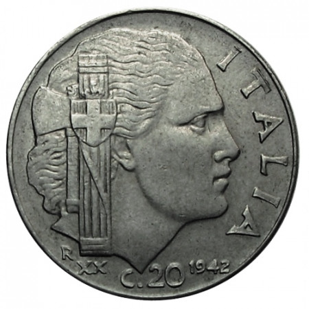 "1942 XX * 20 Centesimi Italie Royaume ""Victor-Emmanuel III - Impero"" (KM 75b) moy.TTB"