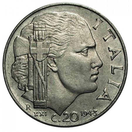"1943 XXI * 20 Centesimi Italie Royaume ""Victor-Emmanuel III - Impero"" (KM 75b) moy.TTB"