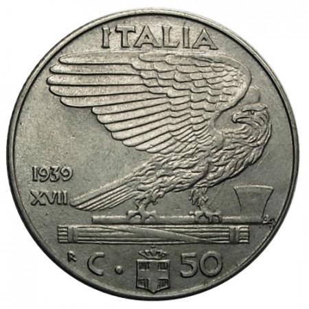"1939 XVII * 50 Centesimi Italie Royaume ""Victor-Emmanuel III - Impero"" Antimagnétique (KM 76a) moy.TTB"