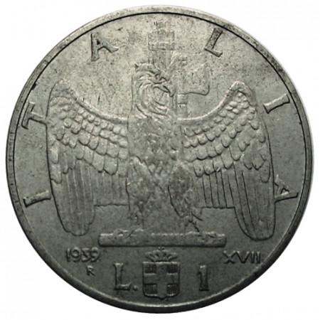 "1939 XVII * 1 Lira Italie Royaume ""Victor-Emmanuel III - Impero"" Antimagnétique (KM 77a) moy.TTB"