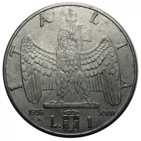 "1939 XVII * 1 Lira Italie Royaume ""Victor-Emmanuel III - Impero"" Magnétique (KM 77b) moy.TTB"