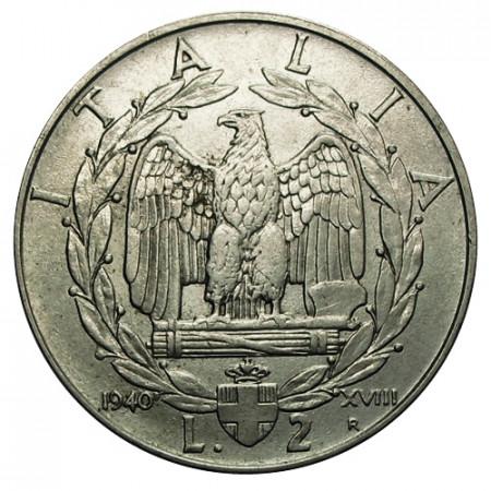 "1940 XVIII * 2 Lire Italie Royaume ""Victor-Emmanuel III - Impero"" Magnétique (KM 78b) moy.TTB"