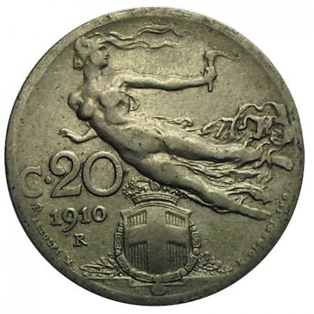"1910 R * 20 Centesimi Italie Royaume ""Victor-Emmanuel III - Libertà Librata"" (KM 44) moy.TTB"