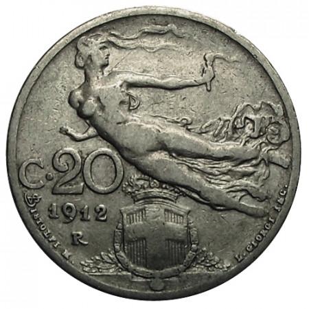 "1912 R * 20 Centesimi Italie Royaume ""Victor-Emmanuel III - Libertà Librata"" (KM 44) moy.TTB"