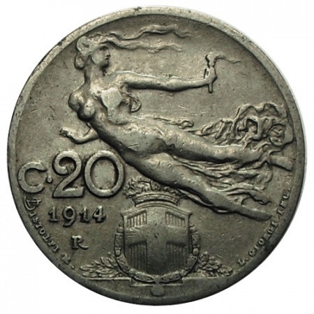 "1914 R * 20 Centesimi Italie Royaume ""Victor-Emmanuel III - Libertà Librata"" (KM 44) moy.TTB"