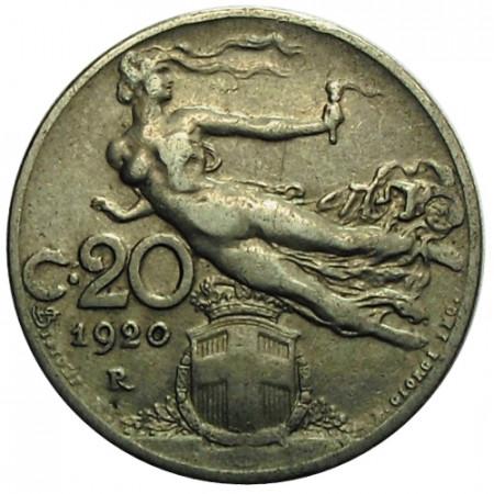 "1920 R * 20 Centesimi Italie Royaume ""Victor-Emmanuel III - Libertà Librata"" (KM 44) moy.TTB"