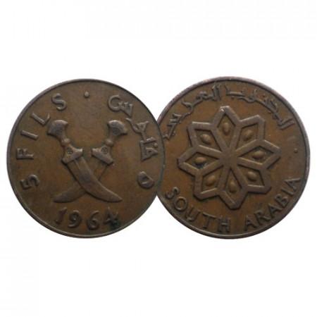 """1964 * 5 Fils Arabie du Sud """"Arab Daggers"""" (KM 2) TTB"""