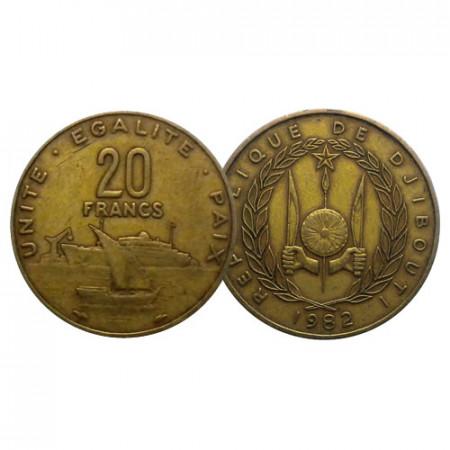 """1982 * 20 Francs Djibouti """"Harbour"""" (KM 24) TTB"""