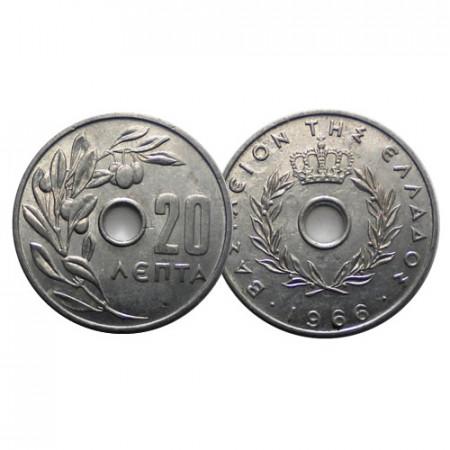 "1966 * 20 Lepta Grèce ""Paul I and Constantine II"" (KM 79) TTB"