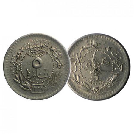 "1327 (1913) * 5 Para Empire Ottoman Turquie ""Muhammad V"" (KM 759) TTB"