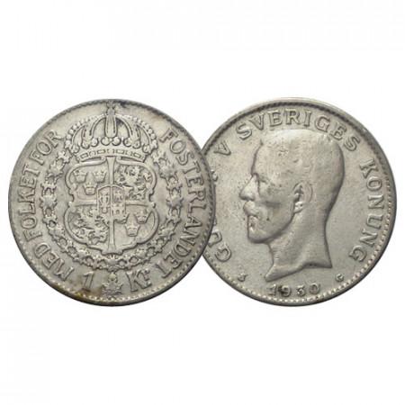 "1930 G * 1 Krona Argent Suède ""Gustave V - Armoiries"" (KM 786.2) TTB"