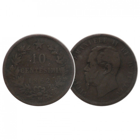 """1862 M * 10 Centesimi Italie Royaume """"Victor-Emmanuel II - Valore"""" (KM 11.1) TB+"""
