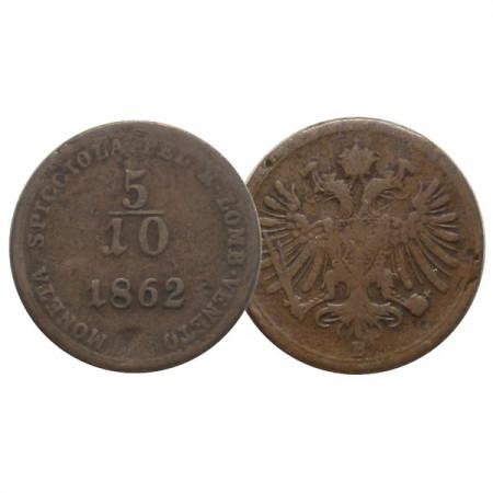 """1862 B * 5/10 (1/2) Soldo Autriche """"François-Joseph Ier - Lombardie-Vénétie, Kremnitz"""" (C34.1) TB"""