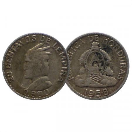 "1958 * 20 Centavos Argent Honduras ""Chief of Lempira"" (KM 73) TB+"