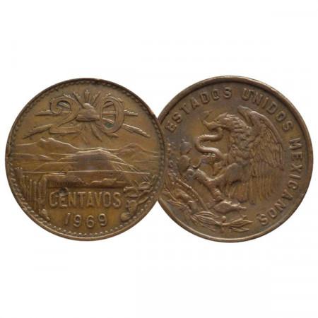 """1969 * 20 Centavos Mexique """"Type 2 National Emblem"""" (KM 440) TTB"""
