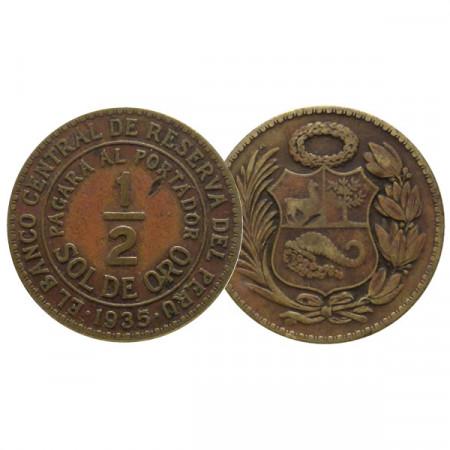 """1935 * 1/2 Sol de Oro Pérou """"National Emblem"""" (KM 220.1) TTB"""