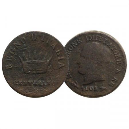 """1808 B * 1 Centesimo Italie """"Napoléon Ier - Roi d'Italie - Bologna"""" (C 1.1) TB"""