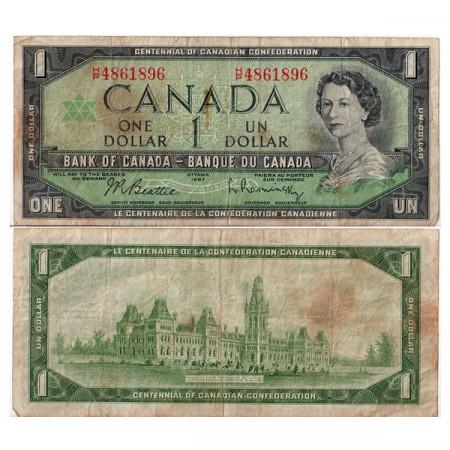 "1967 * Billet Canada 1 Dollar ""Élisabeth II – 100 Confederation"" (p84a) TB"
